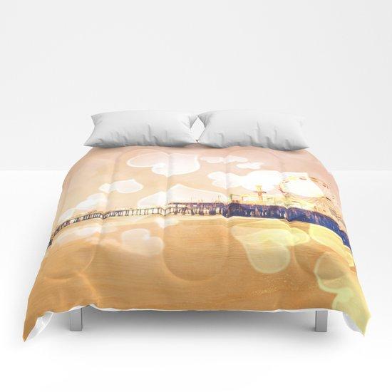 Bokeh Hearts Santa Monica Pier Comforters