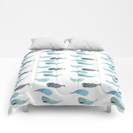 Patterned Sperm Whales Comforters