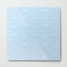 Blue Squares and Dots Metal Print