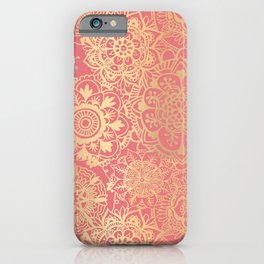 Coral Pink and Gold Mandala Pattern iPhone Case