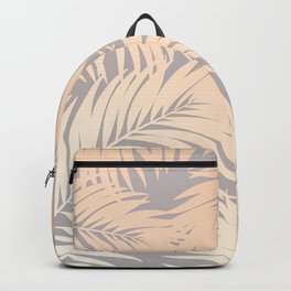 Palm Tree Fronds Peach Pink Blush on Soft Grey Hawaii Tropical Décor Backpack