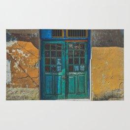 Turquoise Wooden Door - Aged & Worn Rug