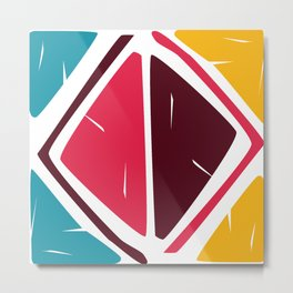 Abstract Retro shapes Set, Hand Painted Tribal Shapes, Retro Classic Colors, No 02 Metal Print