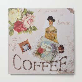 Collage happiness Coffee insprational quote motivation shabby chic by Ksavera Metal Print