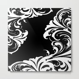 Damask Black and White Victorian Leaf Damask #1 Metal Print