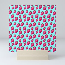 Fun Summery Strawberry Print With Light Blue Background! (Small Scale) Mini Art Print