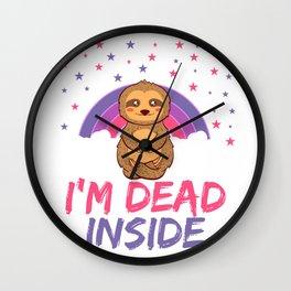 Sloth I'm Dead Inside Depression Kills Raise Awareness T-shirt Design Help Heal Comfort Talk Chat Wall Clock