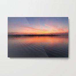 Beautiful lake at summer sunset Metal Print