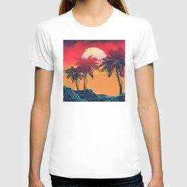 Vaporwave landscape with rocks and palms T-shirt