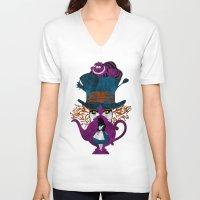 alice in wonderland V-neck T-shirts featuring Wonderland by Vitalitee