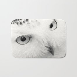 owl chouette bird white Bath Mat