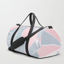 Cool blue/grey and pink geometric prism pattern Duffle Bag