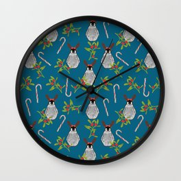 Christmas Penguin Pattern Vintage Blue Wall Clock