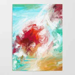 Center of Attraction Acrylic Abstract with Prominent Red and Green Poster