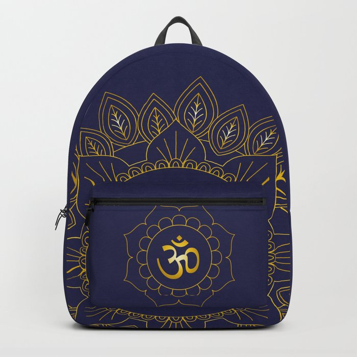 Om Symbol and Mandala in Spiritual Gold Purple Blue Violet Backpack