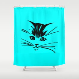 Aqua Kitty Cat Face Shower Curtain