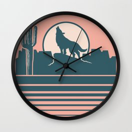 Howling at the Moon Landscape 233 Beige Green and Dusty Rose Wall Clock