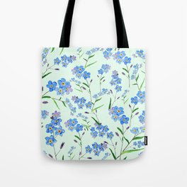 forget me not in green background Tote Bag