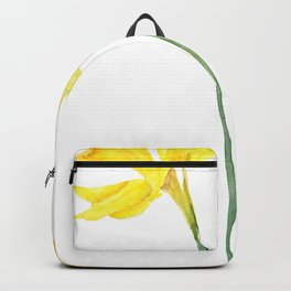 two botanical yellow daffodils watercolor Backpack