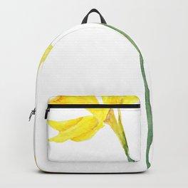 two botanical yellow daffodils watercolor Backpack