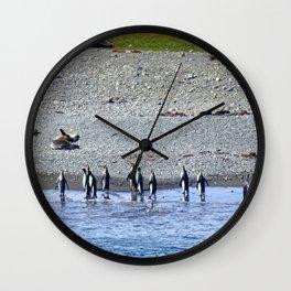 Paddling Penguins Wall Clock
