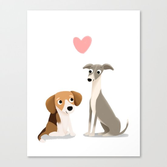 The Unlikely Pair - Cute Dog Series Canvas Print