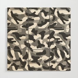 Grey Gray Camo Camouflage Wood Wall Art