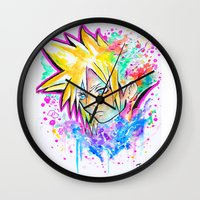playstation Wall Clocks featuring Original - CLOUD STRIFE - Watercolor Painting - Playstation by Jonny Clingan