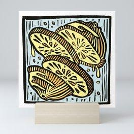 Oranges in Space - Linoprint Mini Art Print