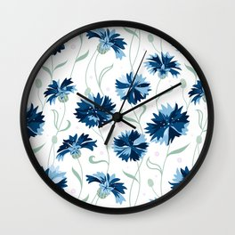 Blue cornflowers on white Wall Clock