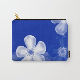 Retro 70s Flowers Sapphire Blue Carry-All Pouch