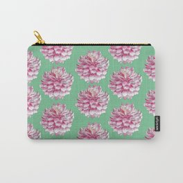 Dahlias pattern on green Carry-All Pouch