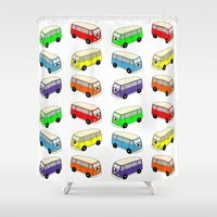 vw bus Shower Curtains featuring VW-Style Love Bus Campervan - Multi Colour by Carrie at Dendryad Art