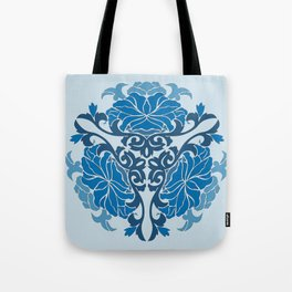 Blue Chinese Floral Medallion Tote Bag