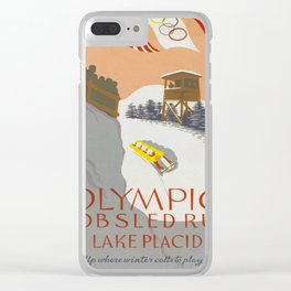 Vintage poster - Lake Placid Clear iPhone Case