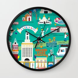 Oakland, California - Collage Illustration by Loose Petals Wall Clock