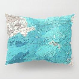 Vintage Blue Transatlantic Mapping Pillow Sham