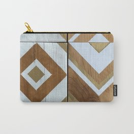 White Chevron Painting on Reclaimed Wood Carry-All Pouch