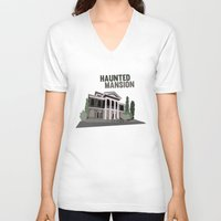 haunted mansion V-neck T-shirts featuring new Orleans square.. haunted mansion by studiomarshallarts