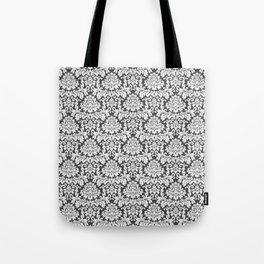 Vintage black white chic elegant floral damask Tote Bag