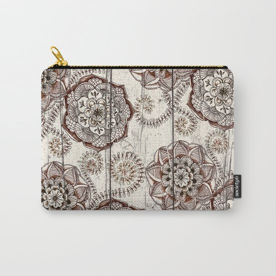 Coffee & Cocoa - brown & cream floral doodles on wood Carry-All Pouch