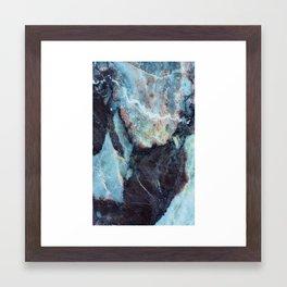 Navy blue marble Framed Art Print