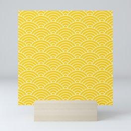 Fan pattern in yellow Mini Art Print