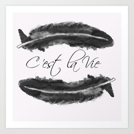 C'est La Vie - Grey Feather Print  Art Print
