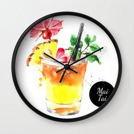Watercolor Mai Tai Wall Clock