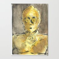 c3po Canvas Prints featuring C3PO by Johannes Vick