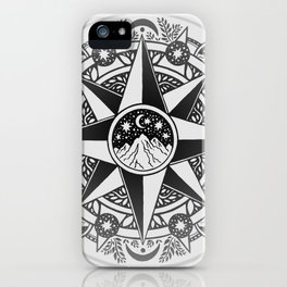 Journey to Moon Mountain | Black & Grays iPhone Case
