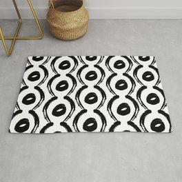 Contemporary, Modern Black and White Trendy Pattern Rug