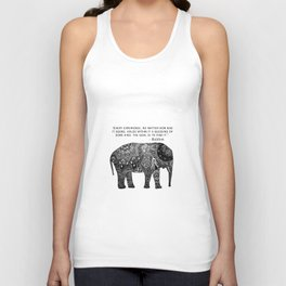 Buddha Quote with Henna Elephant Unisex Tank Top