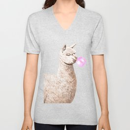 Playful Alpaca Chewing Bubble Gum in Green Unisex V-Neck